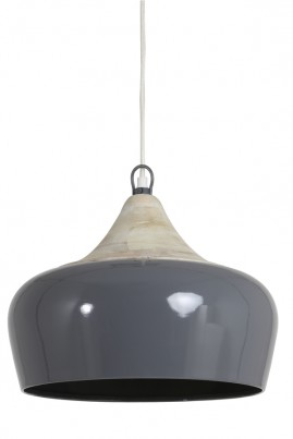 Grey Metal and Wood Ceiling Light 1