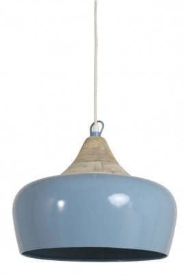 Blue Metal and Wood Ceiling Light