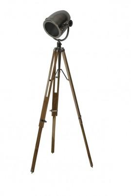 Natural Wood & Steel Tripod Film Floor Lamp 1