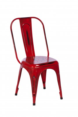 Imari Industrial Metal Dining Chair (Red)