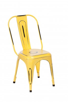 Imari Industrial Metal Dining Chair (Yellow)