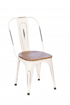 Imari Industrial Metal Dining Chair with Wooden Seat (White)