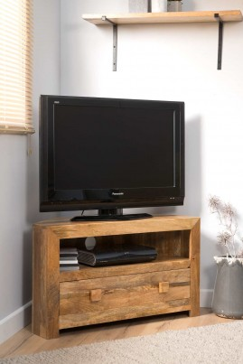 Dakota Light Mango Small Corner TV Stand 1