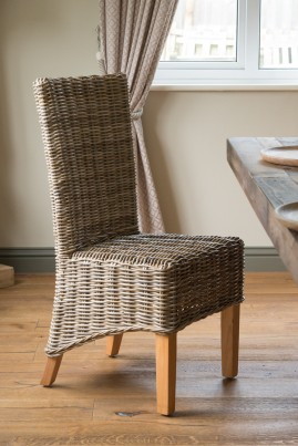 Kubu Grey Rattan Dining Chair - Light Leg 1