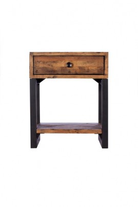 Brooklyn Industrial Side Table with Drawer