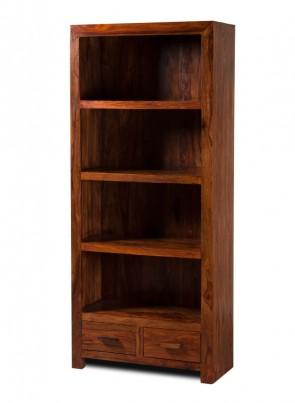 Kashmir Sheesham Tall 2 Drawer Bookcase 1