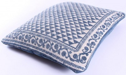 Blue Aztec Cotton Cushion 50x50cm