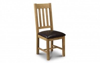 Solid Oak & Leather Dining Chair (Clearance)