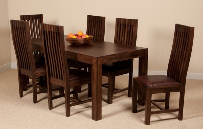 Mango Walnut 6-Seater Dining Set (Leather Seat)