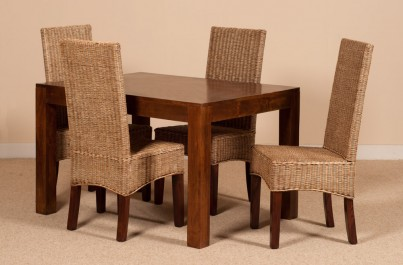 Ibis Rattan 4-Seater Light Mango Dining Set 1