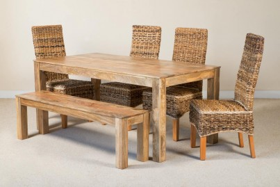 Catalina 6-Seater Light Mango Dining Set With Bench 1