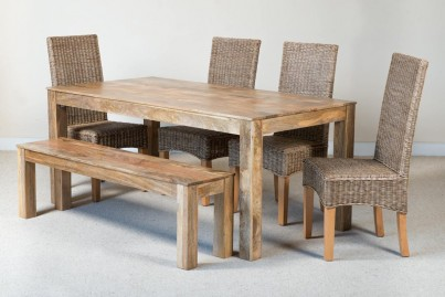 Ibis Rattan 6-Seater Light Mango Dining Bench Set 1