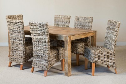 Kubu Rattan 6-Seater Light Mango Dining Set 1