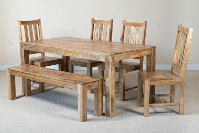 Mango Natural 6-Seater Dining Set With Bench 1