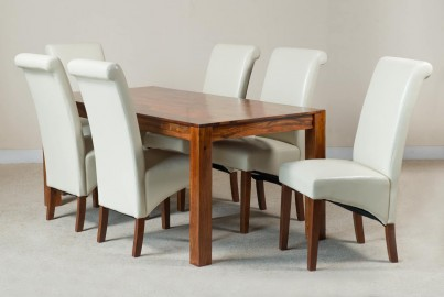 Kashmir Sheesham & Leather 6-Seater Dining Set Ivory 1