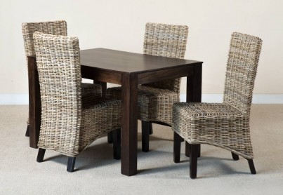 Kubu Rattan 4-Seater Dark Mango Dining Set 1