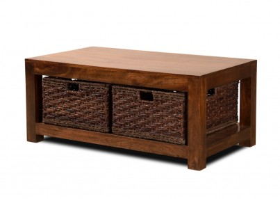 Dakota Mango Large Coffee Table With Baskets Dark 1