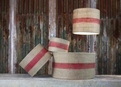 Bvari Linen Lamp with Red Stripe Shades