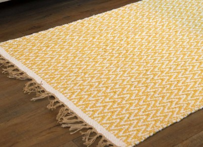Jute Cotton Zig-Zag Rug - Gold
