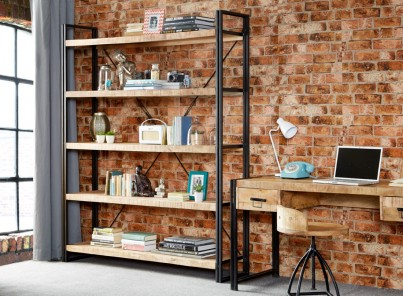 Imari Industrial Mango Large Open Bookcase