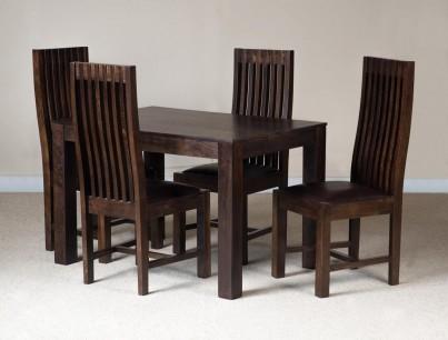 Mango Walnut 4-Seater Dining Set Leather Seat 1