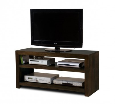 Dakota Dark Mango Wide Hi-Fi Shelving Unit 1