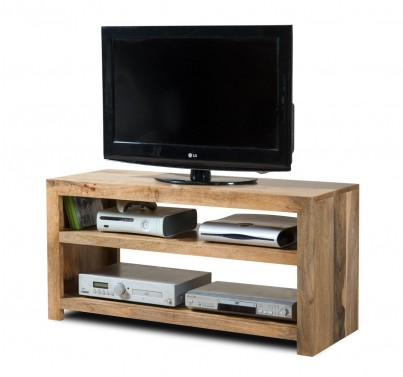 Dakota Light Mango Wide Hi-Fi Shelving Unit 1