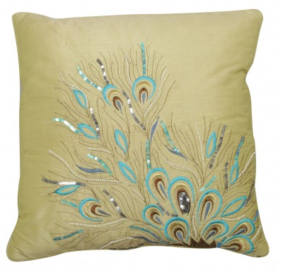 Pistachio Sequin Peacock Feathers Cushion 1