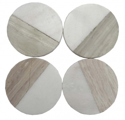 Marble Wood Effect Round Coasters Set of 4