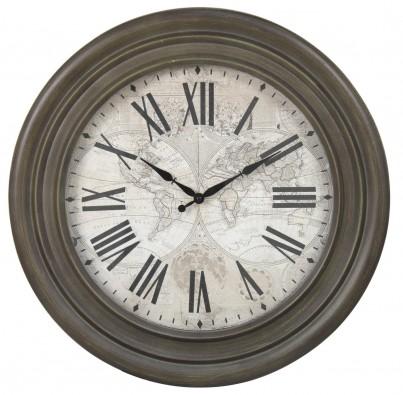 Antique Dark Grey World Map Clock