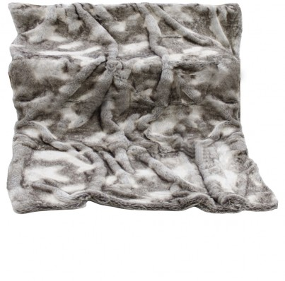 Brown And Grey Timber Wolf Faux Fur Throw 1