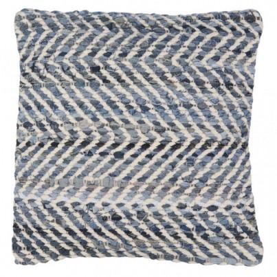 White/Blue Recycled Denim & Chenille Scatter Cushion 45x45cm