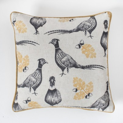Pheasant and Acorn Cushion Ochre