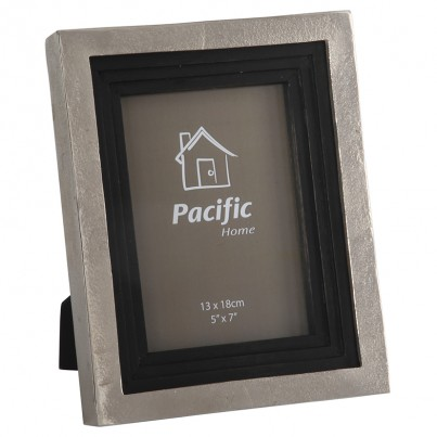 Raw Nickel & Antique Black Wood Photo Frame 7x5in