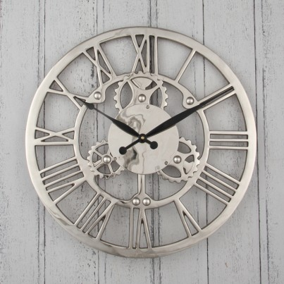 Nickel Cogs Wall Clock
