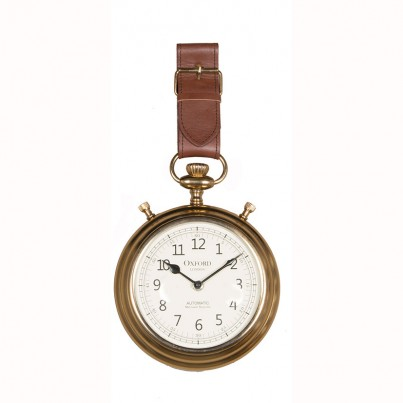 Brown Leather & Ant Brass Watch Strap Wall Clock