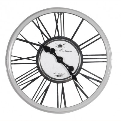 Glossy Grey Metal & Glass Round Wall Clock