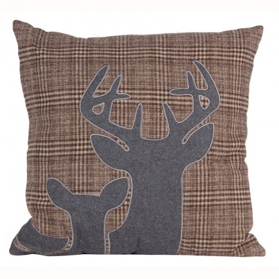 Grey & Brown Fabric Stag Design Square Scatter Cushion