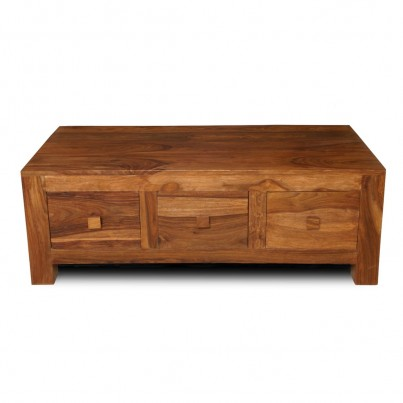 Cuba Petite Sheesham 3-Drawer Coffee Table 1