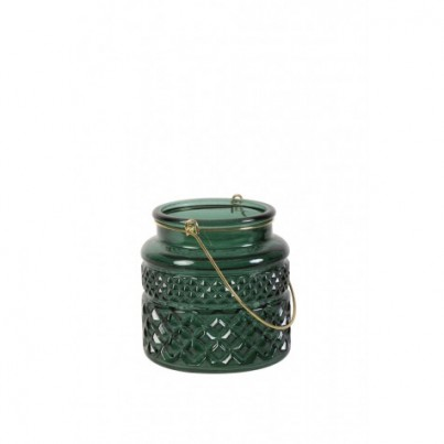 Green Cut Glass Candle Holder - Small