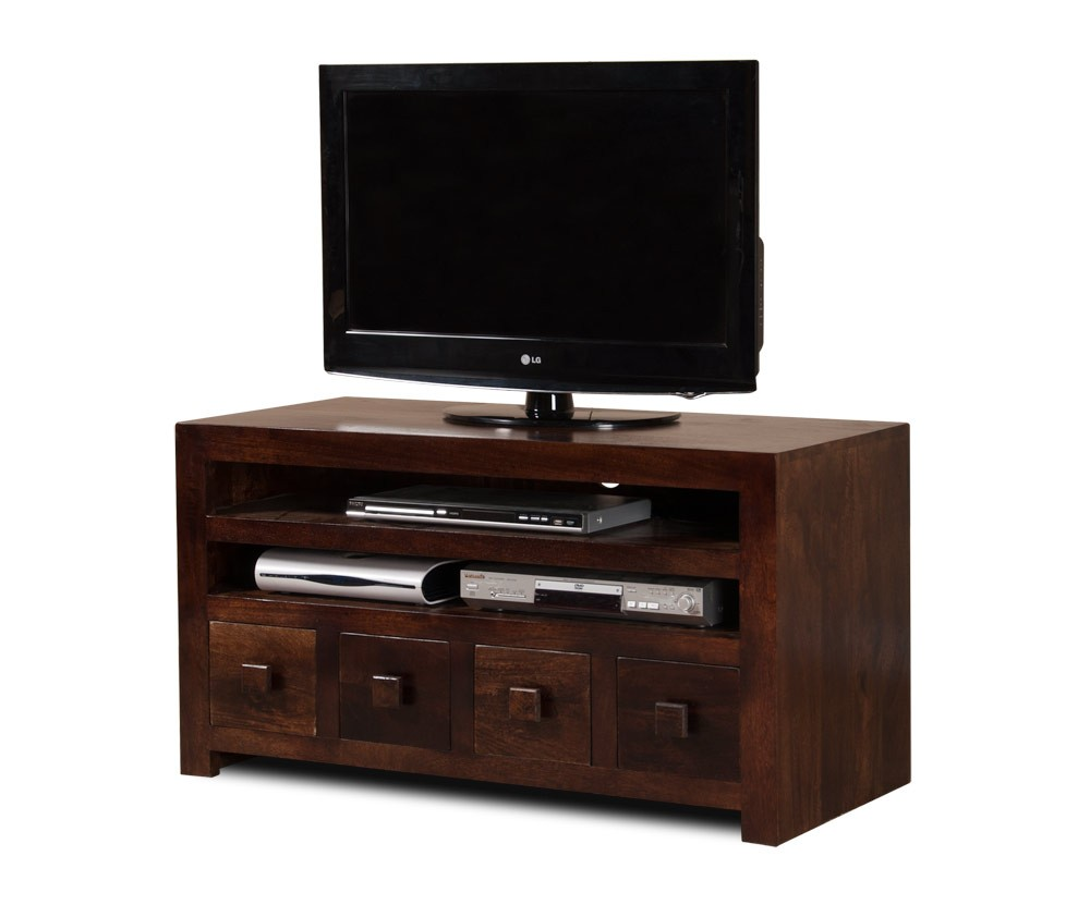 4 drawer media unit 37 tv stand mango wood walnut. Black Bedroom Furniture Sets. Home Design Ideas