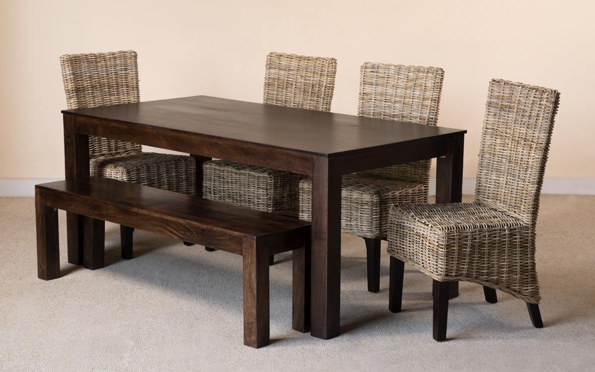 Kubu Rattan 6 Seater Dark Mango Dining Set With Bench 1