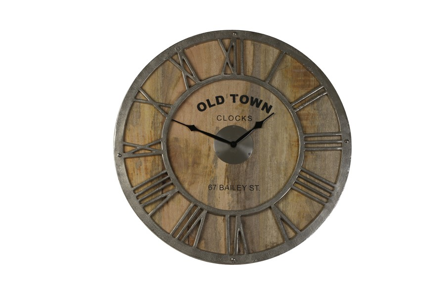 Old Town Baily Wood Amp Nickel Wall Clock