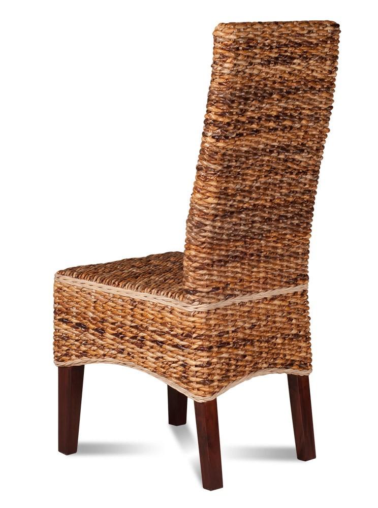 Light Rattan Dining Chair | Dark Mahogany Wood Legs | Casa ...