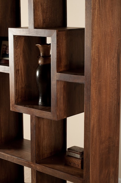 Mango Walnut Tall Open Bookcase Shelving Unit