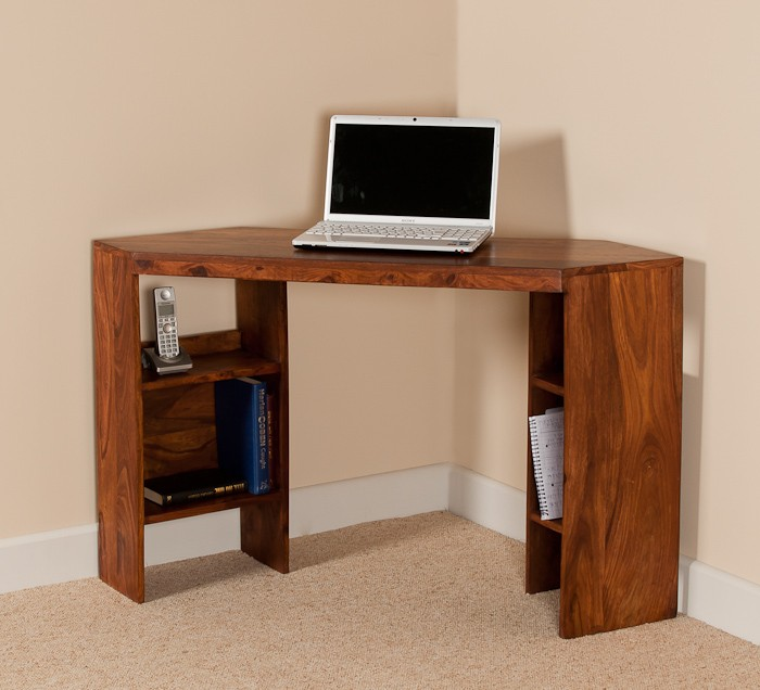 small computer desk corner unit sheesham wood casa bella furniture. Black Bedroom Furniture Sets. Home Design Ideas