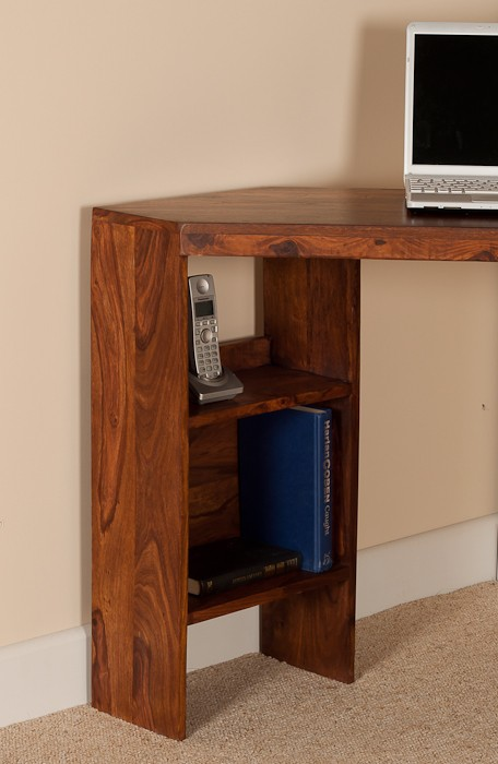 Small Computer Desk Corner Unit Sheesham Wood Casa
