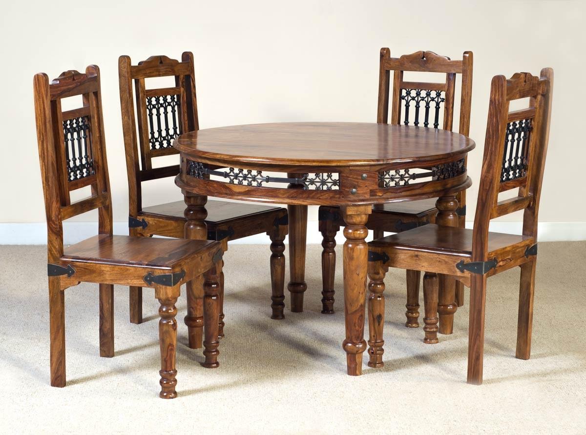 Jali Sheesham Round 4 Seater Dining Set 1