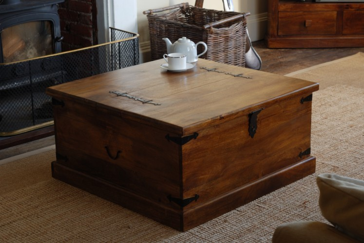 Rustic Solid Mango Wood Trunk Coffee Table Blanket Box