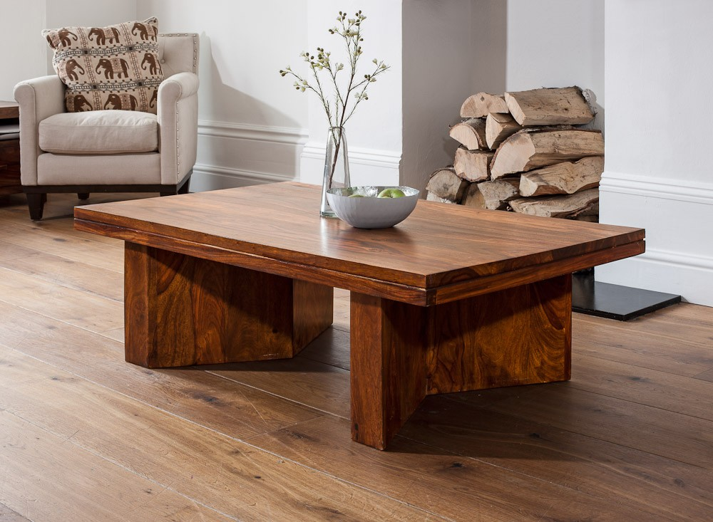 Angled Coffee Table Sheesham Wood Stained Honey Colour